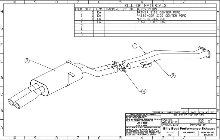 BMW E30 325 325is Cat Back Exhaust System (Round Tips) #