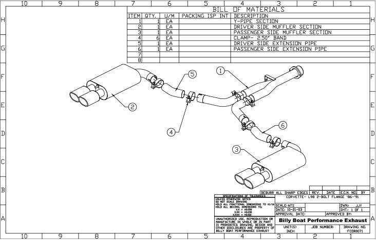Chevy C4 Corvette L98 Cat Back Exhaust System 2 1/2
