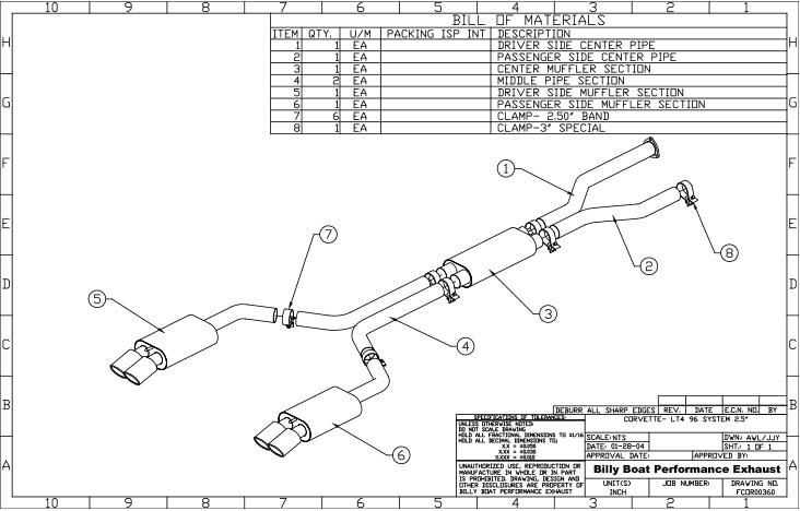Chevy C4 Corvette LT4 Cat Back Exhaust System 2 1/2