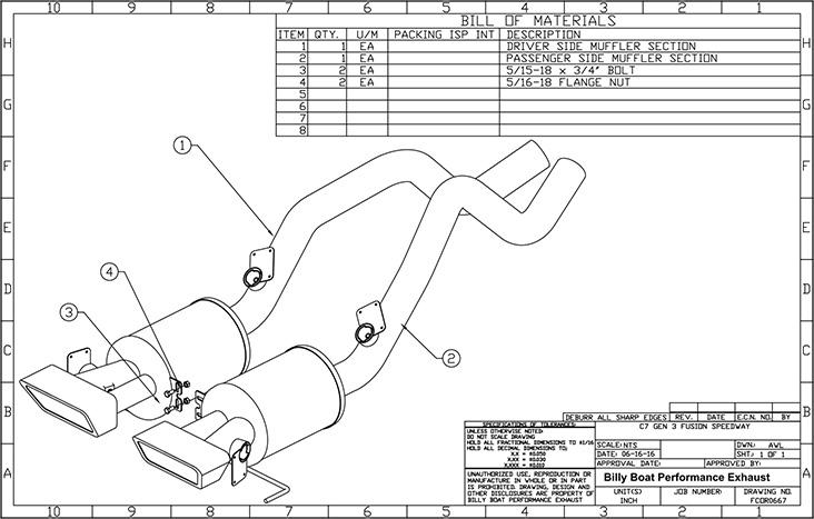 Chevy C7 Corvette Fusion Gen. 3 Axle Back Exhaust System