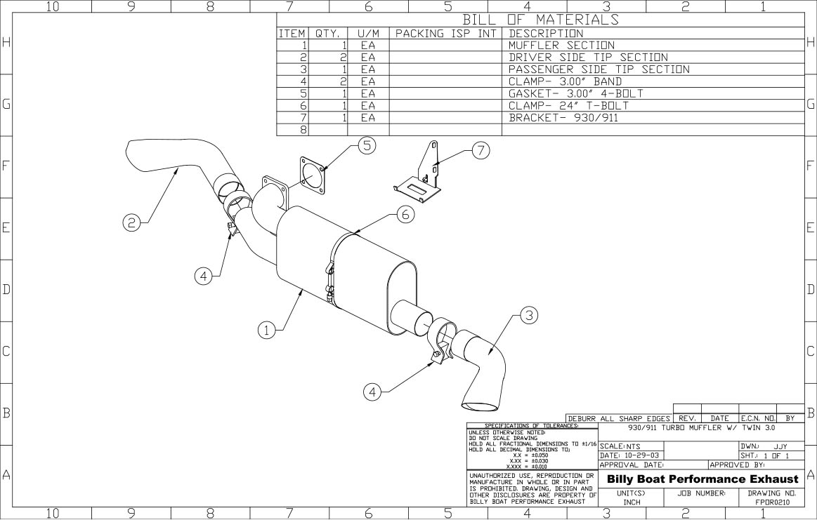 Porsche 911 930 Turbo Rear Exhaust System, Twin Outlet