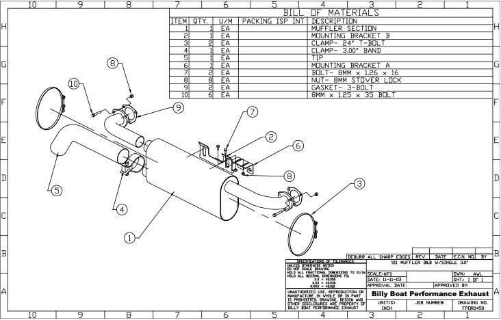 Porsche 911 Muffler for BBE Header Single Outlet (Oval