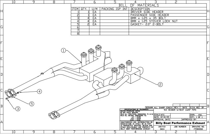 Porsche 914-6 Headers with Heat Exchangers 1 5/8