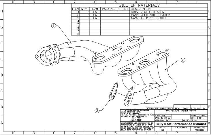 """Porsche 996 Exhaust Headers 1 3/4"""" pipe (will not fit GT3"""