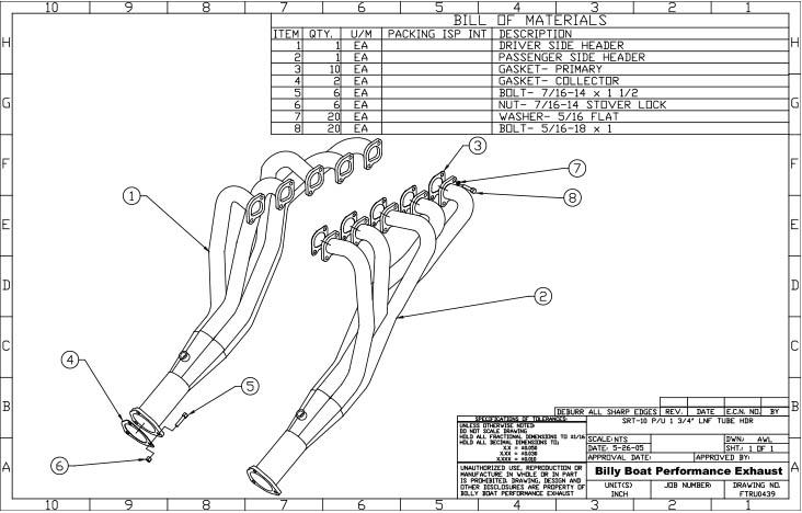 Dodge Ram SRT-10 Long Tube Headers 1 3/4
