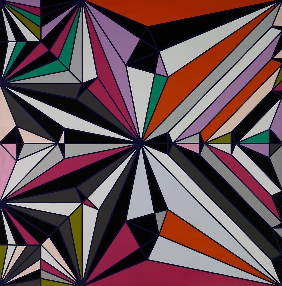 erol-tabanca-collection-Sarah-Morris-June-Beetle-Origami-Serisi-2009-214-x-214-cm-ev-tipi-parlak-boya-Fotoğraf-Ozan-Çakmak