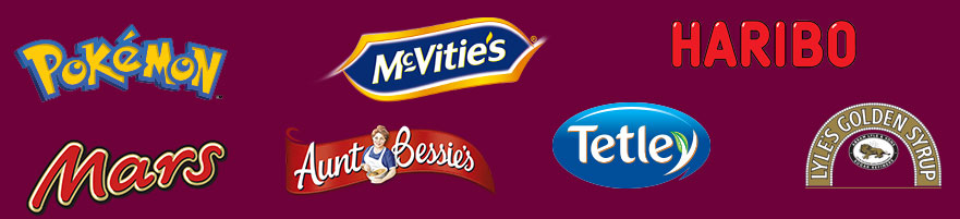 Pokemon, Haribo, Mars, Aunt Bessies, Tetley, McVities, Tate and Lyle