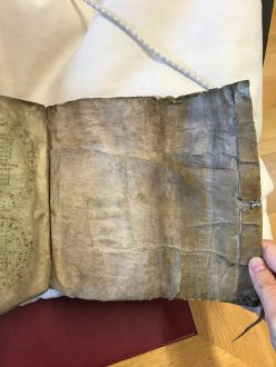Rylands Latin MS 228, showing storage flap in soft cover
