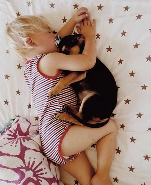 Toddler naps with his 2-month-old puppy every day