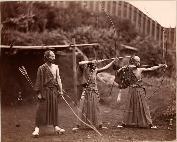 Three Japanese archers circa 1860. Photographer unknown. (Image Source: Henry and Nancy Rosin Collection of Early Photography of Japan. Smithsonian Institution.)