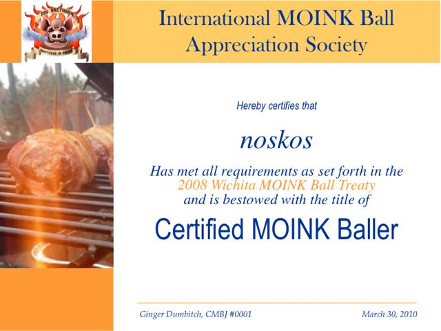 MOINK Ball Certificaat