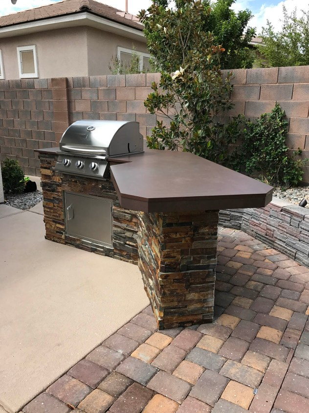 Custom Outdoor Barbecue Island with Dekton Kadum Counter-top