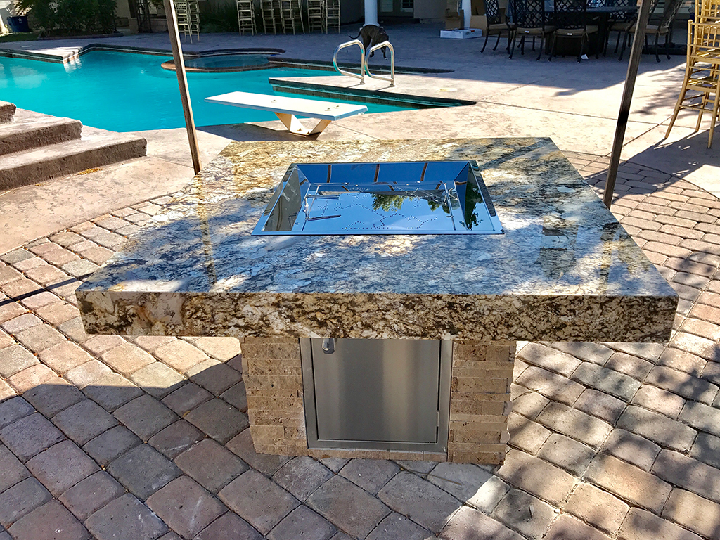outdoor living, outdoor living area, las vegas, nevada, outdoor kitchens, outdoor kitchen, marshmallows, summer nights, perfect for any situation, granite, barbecue islands, barbecue island, gorgeous