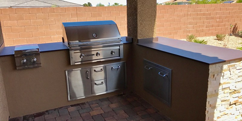 bbq; BBQ islands; bbq island; outdoor; outdoor living; outdoor kitchen; outdoor kitchens; bbq custom kitchens; custom outdoor living; custom outdoor kitchen; las vegas; nevada; grilling; food; l-shape; outdoor living area; beautiful kitchen; kitchen;