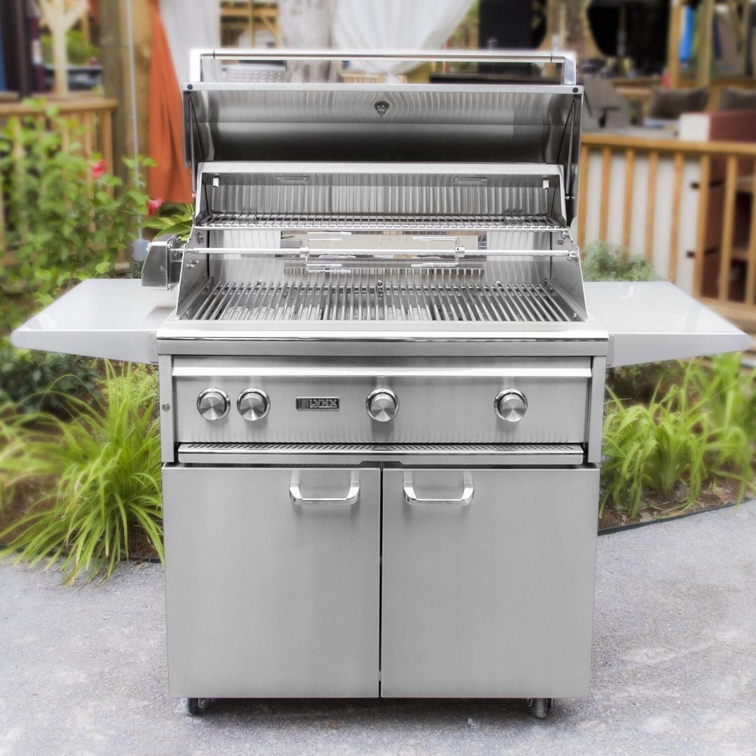 outdoor kitchen with freestanding grill utensil lynx 36 prosear 2 burner and