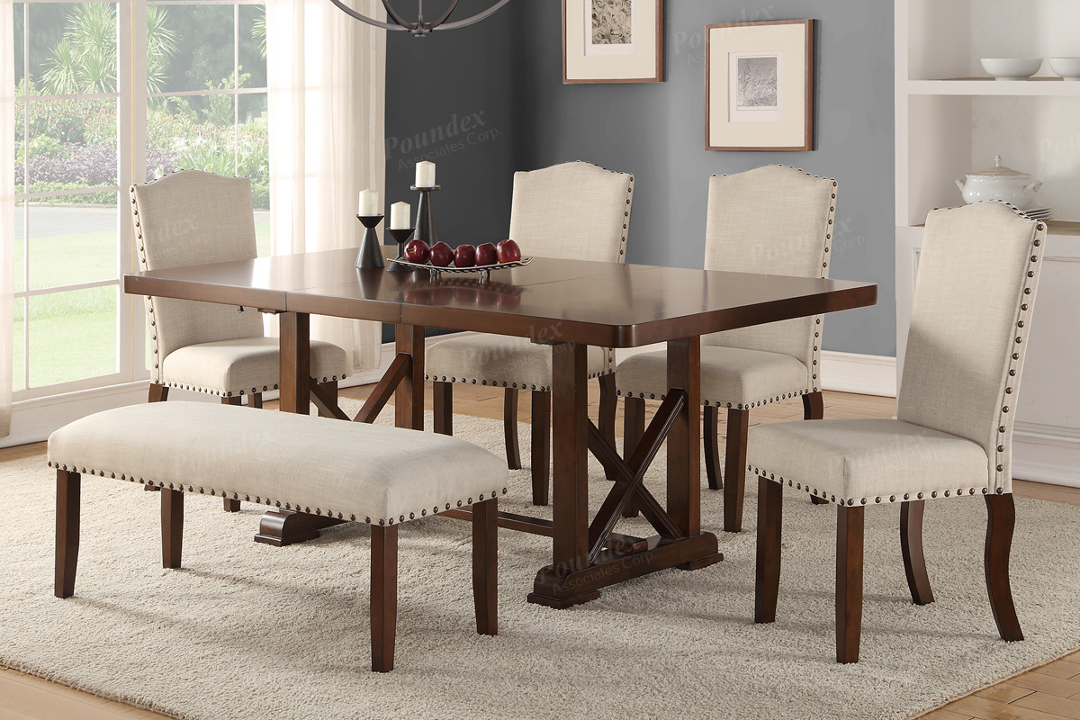 4 chair dining set sherpa dish table w chairs and bench f2398 f1548 bb s furniture f1546