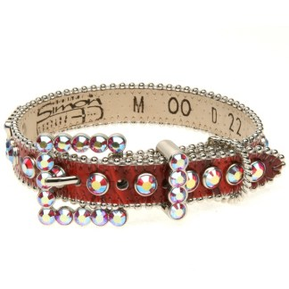 B.B.SIMON DOG Pepper Swarovski Leather Dog Collar