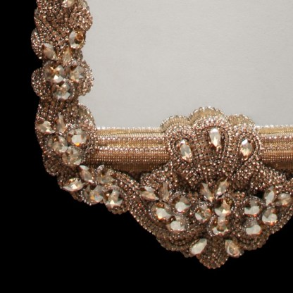 M-201-GOLD BB Simon Ornate Jeweled Swarovski Mirror