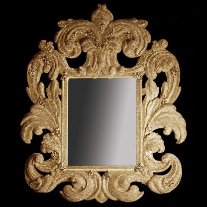 M-207-27 BB Simon Designer Gold Metal Diamond Mirror