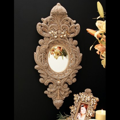 M-527-BB Simon Gold Framed Swarovski Mirror