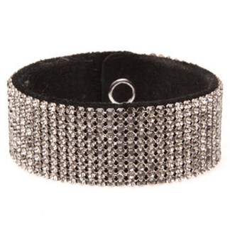 MESH CUFF-10ROW-BLACK DIAMOND