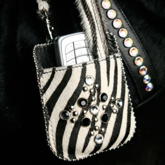 T14-Z60-CLEAR-JET Swarovski Rhinestone Zebra Phone Holder Purse