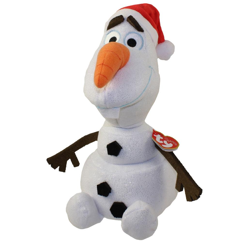 TY Beanie Buddy OLAF The Snowman With SANTA HAT 105