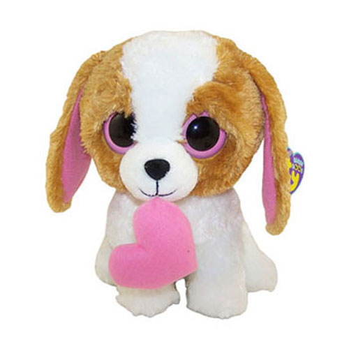 TY Beanie Boos COOKIE The Brown Dog With Heart Solid