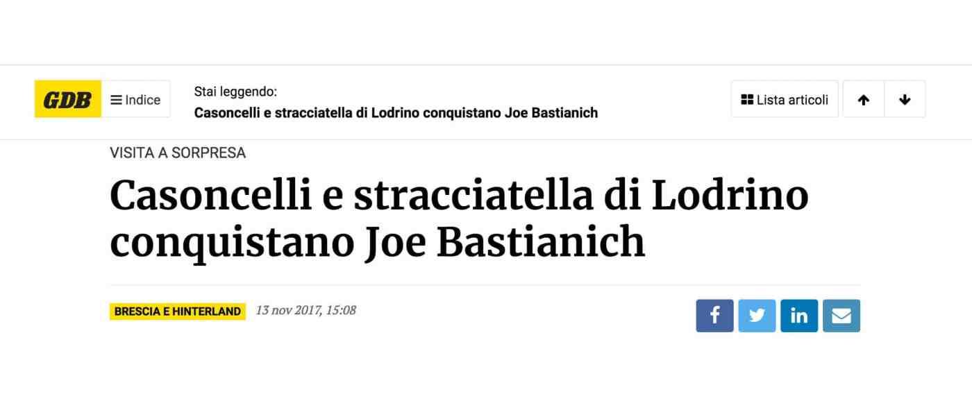 Titolo del giornale di Brescia, Joe Bastianich approva la mozzarella e stracciatella del Mozzarellificio di Giuliano Ettori