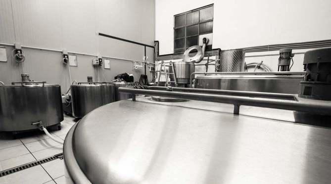Interno del birrificio curtense a Monterotondo, Franciacorta (BS)