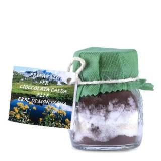 Preparato per cioccolata calda fatto con erbe spontanee di alta montagna