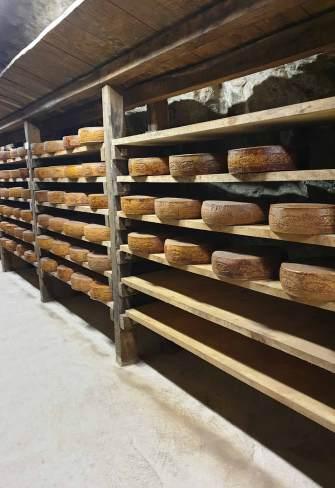 fome di formaggio valtrompia dop su scaffali in miniera a Graticelle