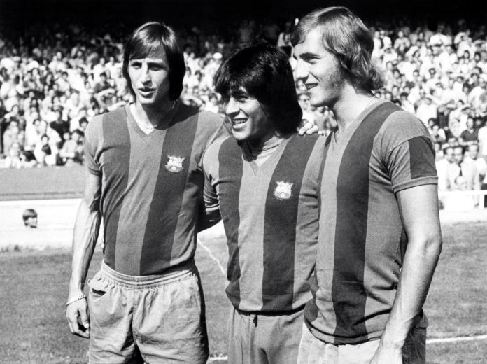 Picture of Johan Cruyff, Hugo Sotil and Johan Neeskens at F.C. Barcelona bbva