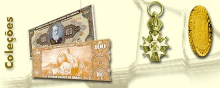Ilustração com cédulas, moedas e condecorações antigas