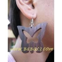 Butterfly Wooden Earrings - Wooden engraved Earrings ...