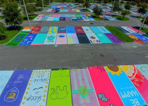 senior painted parking spots