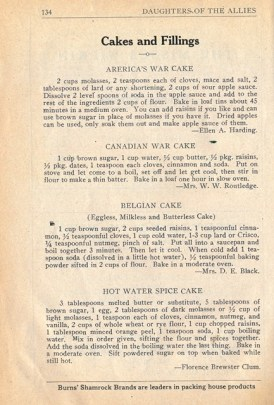 Daughters of the Allies War Cake Recipes