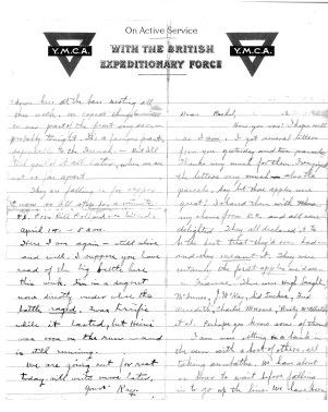 1917 letter from Ray to Rachel