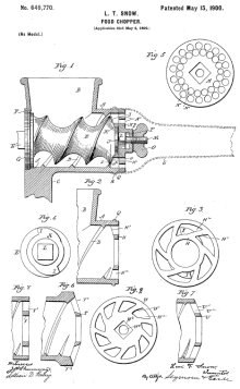 Home grinder diagram from L.T. Snow's patent