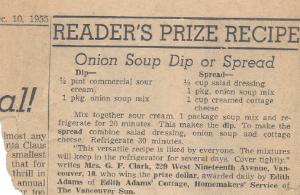 Edith Adams onion soup dip reader's prize recipe