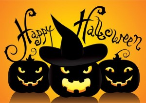 Happy Holloween with carved pumpins