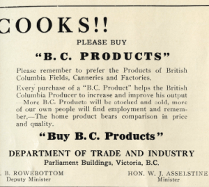 Advertisement - Vncouver Province 1939 - Cooks! Please buy BC products.