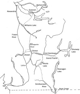 Map of the Old Brigade Trail - how beef for the colony of British Columbia
