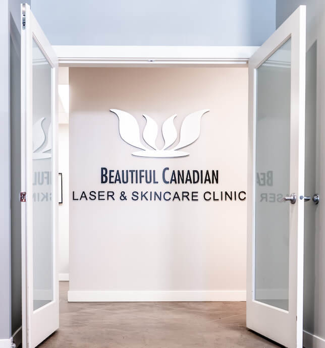 bc laser skincare clinic logo on wall in surrey