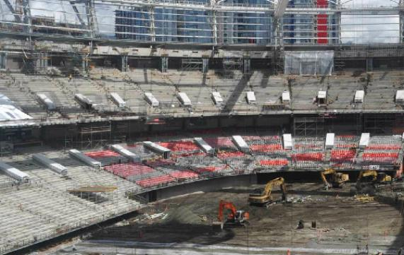 Installation of the seats has begun. Photo capture from BCPlace.com