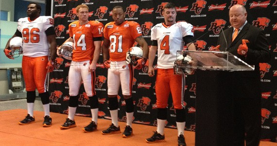 BC Lions president Dennis Skulsky introduces the BC Lions new Reebok jerseys. - Photo: Miss606.com