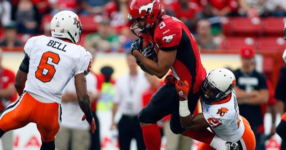 Jon Cornish carries the ball against the Lions - Photo CBC.ca