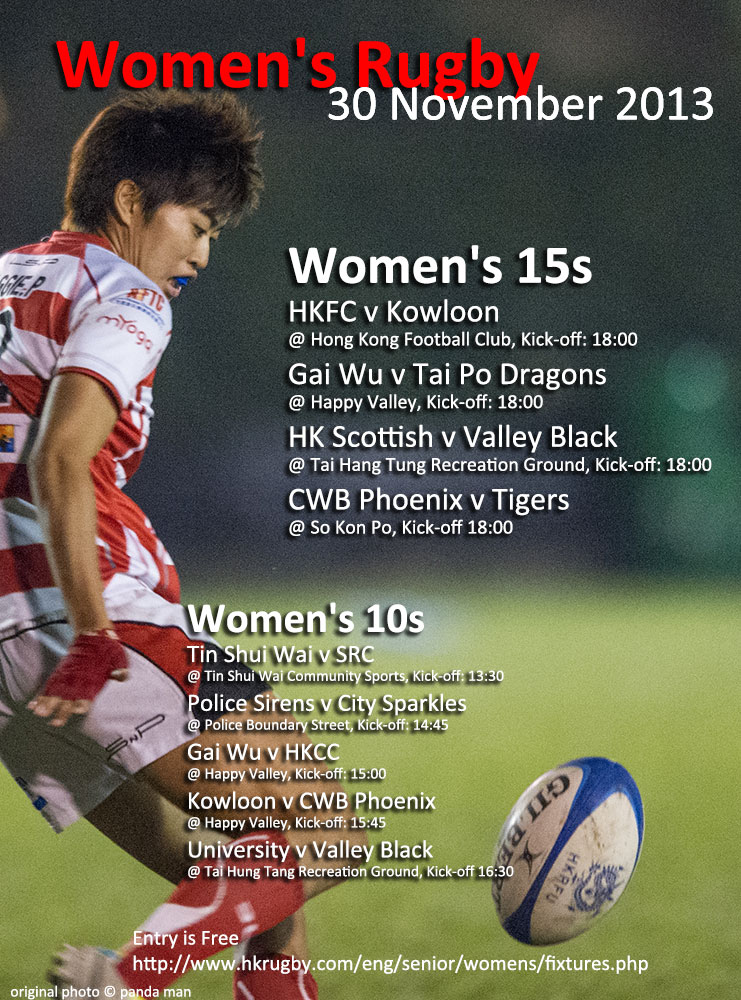 Women's Rugby Fixtures - 30 November, 2013