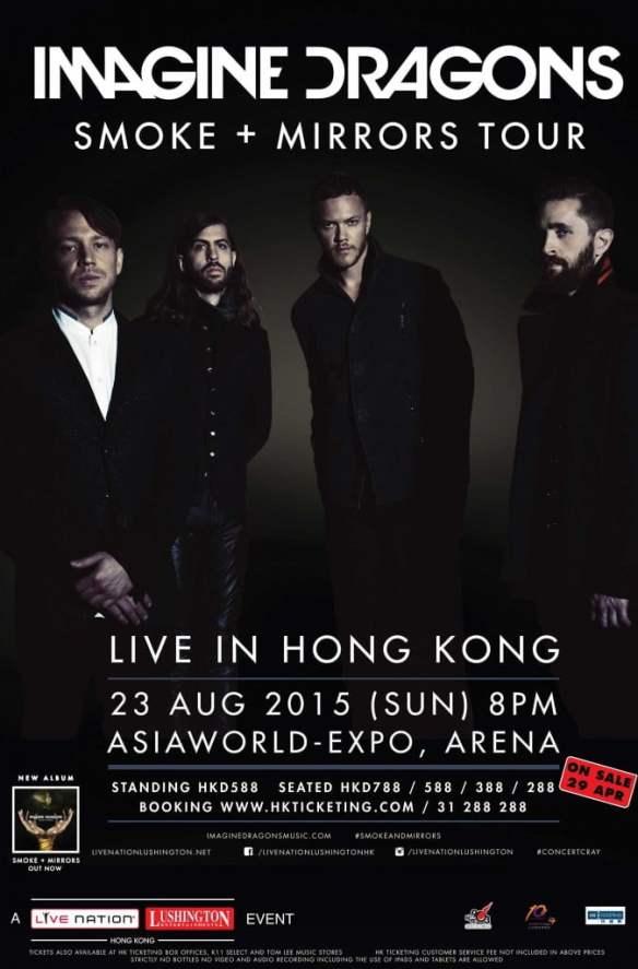 Imagine Dragons: Smoke + Mirrors Tour @ AsiaWorld-Expo, Arena - 23 August 2015