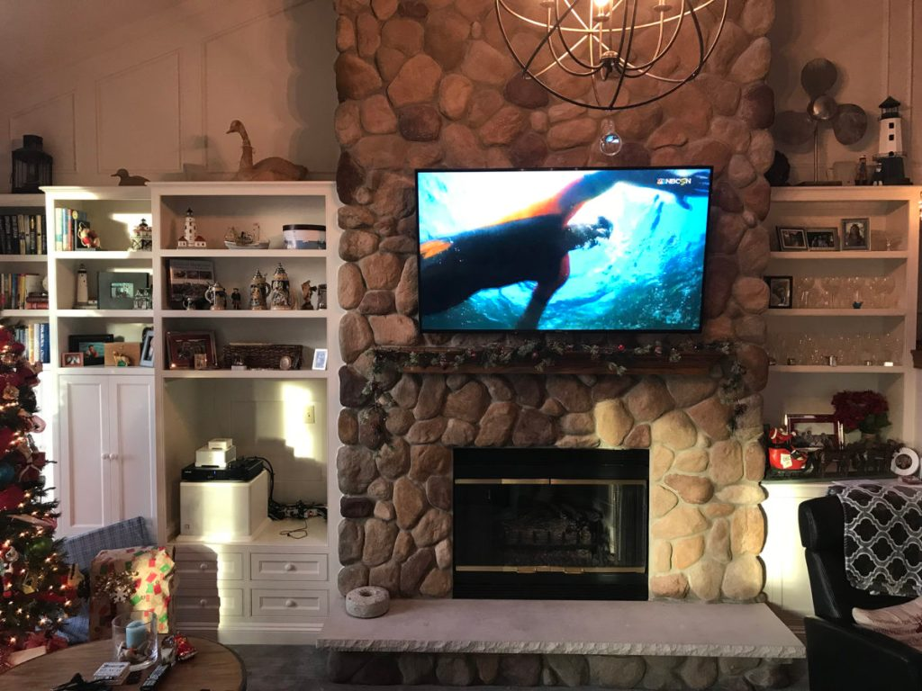 Pewaukee Home above fireplace entertainment system installation
